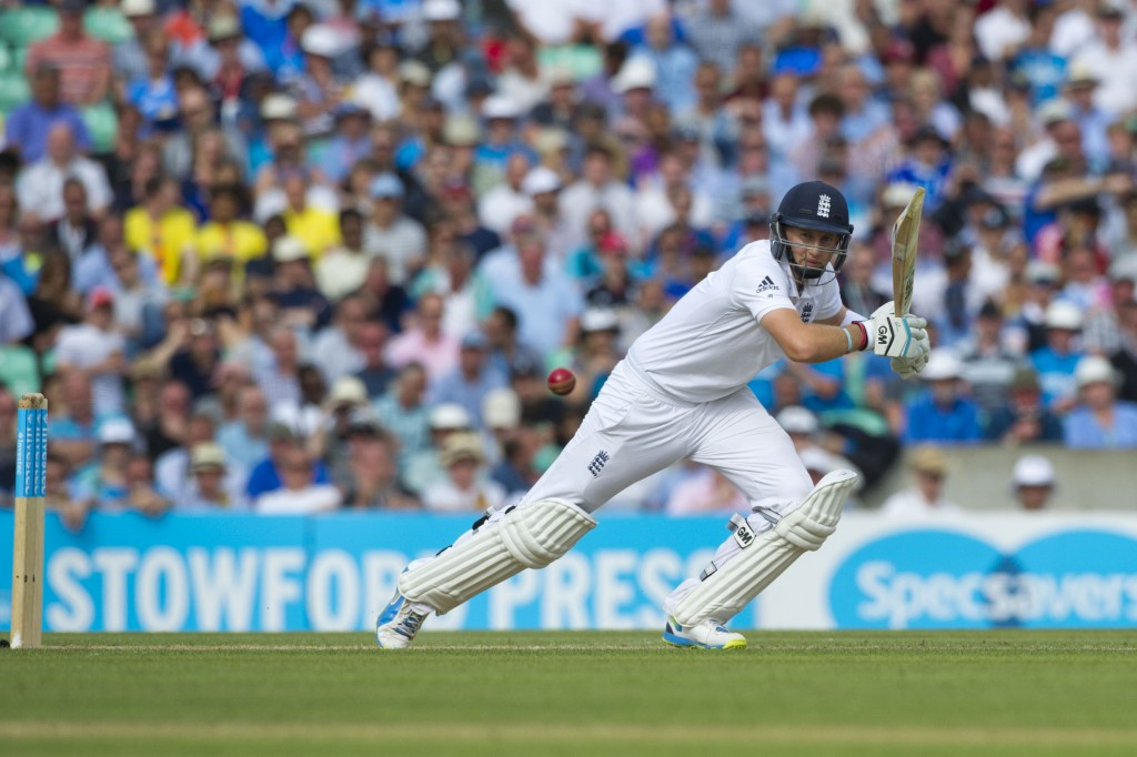 16  August 2014_cricket_England v India_5th test_Oval_Day two_Joe Root cuts a ball from Varun Aaron.